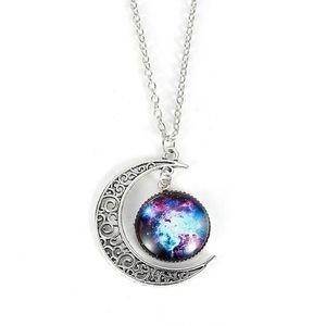 Blue Galaxy Moon Necklace